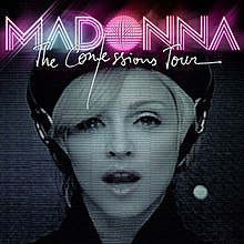 "The face of a woman, made to look greenish. Her mouth is a little open as if she is saying something. Above her the name the word ""The Confessions Tour"" appear."