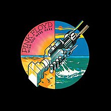 "The black plastic covers the whole vinyl package. The circle sticker at the right-center position shows two machines clasped together, resembling a handshake. The whole circle is divided into four quarters in different colours. The pink quarter, located on north, has ""PINK FLOYD"" in big font; below the band name is ""WISH YOU WERE HERE"" in small font. The yellow quarter is at west; the blue quarter, east; the green quarter, south."