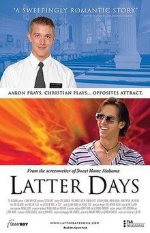 Theatrical release poster for Latter Days, showing Steve Sandvoss as missionary Aaron and Wes Ramsey as party boy Christian.