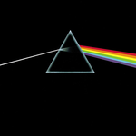 Original album artwork featuring an almost black cover with a triangular prism in the midddle. A ray of white light enters the prism from the left and is refracted into colours as it comes out the right side.