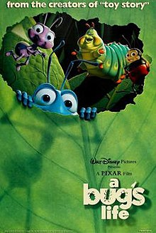 The poster features Flik peeking out of the leaf with the rest of the circus bugs including Francis, Dot, Heimlich, and Slim.