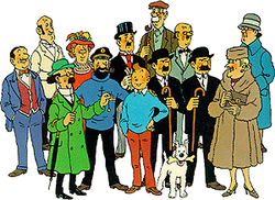 Tintin is standing amongst the main characters and others.