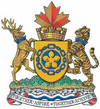 A coat of arms with a yellow and blue Canadian pale in the middle, a crown made from castle bricks with a red Canadian maple leaf on top and a deer to the left and tiger to the right. Below is green grass with a banner that has the city's motto: Together Aspire – Together Achieve.