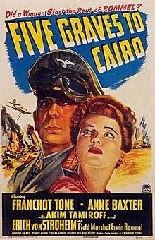 Five Graves to Cairo 1943 film poster.jpg