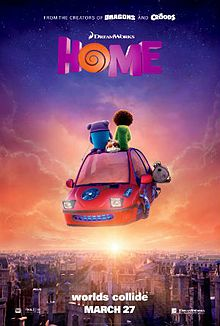Film poster showing Oh the Boov and Tip sitting on the roof of a hovering vehicle against an evening sky