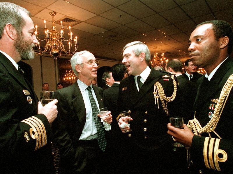 Commodore Harris (second right) in 2001