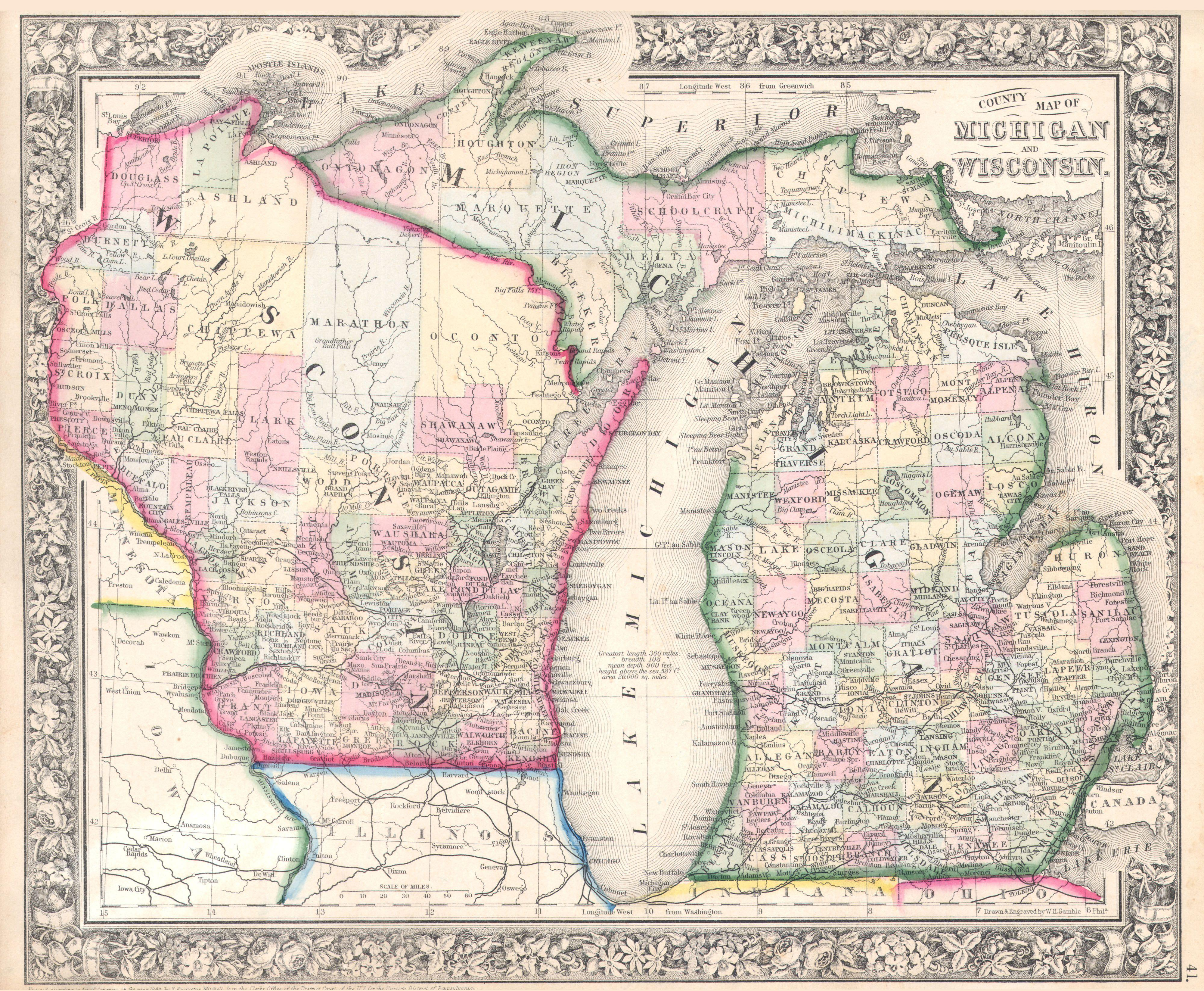 File1864 Mitchell Map of Michigan and Wisconsin  Geographicus