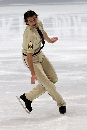 Bradley performs during the short program at the 2011 World Championships