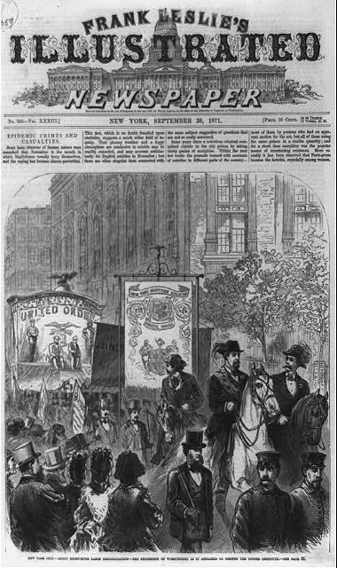 Workers in New York in 1871 demand the eight-hour day 8 hour day 1871 frank leslie.jpg