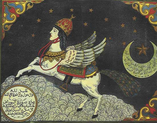 Winged Creatures And Crescent Moons. Sounds Awfully Familiar, Doesn't It? (Pictured: Mohammed's Horse).