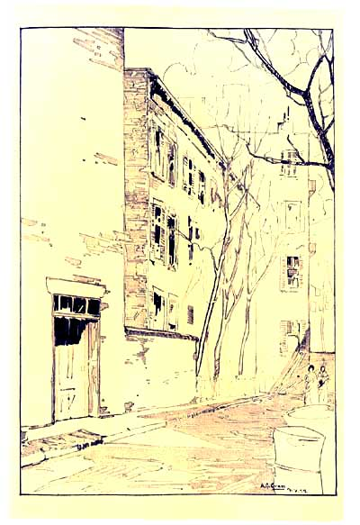 "The 1917 book about Greenwich Village in which this illustration first appeared described Patchin Place as ""one of the strange little 'lost courts' given over to the Villagers and their pursuits"".[7]"