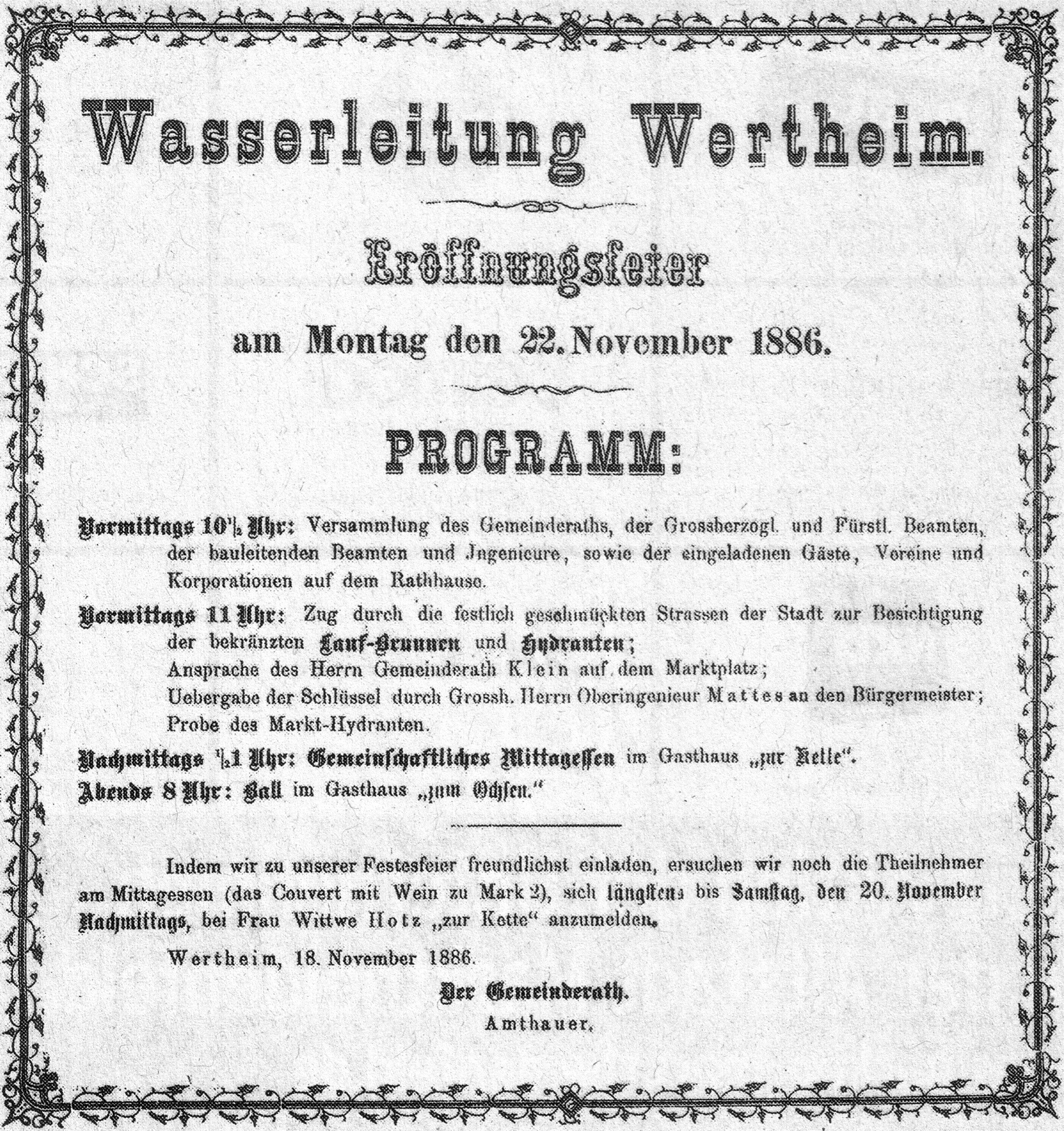 File Aushang Wasserleitung Wertheim 1886 Jpg Wikimedia Commons