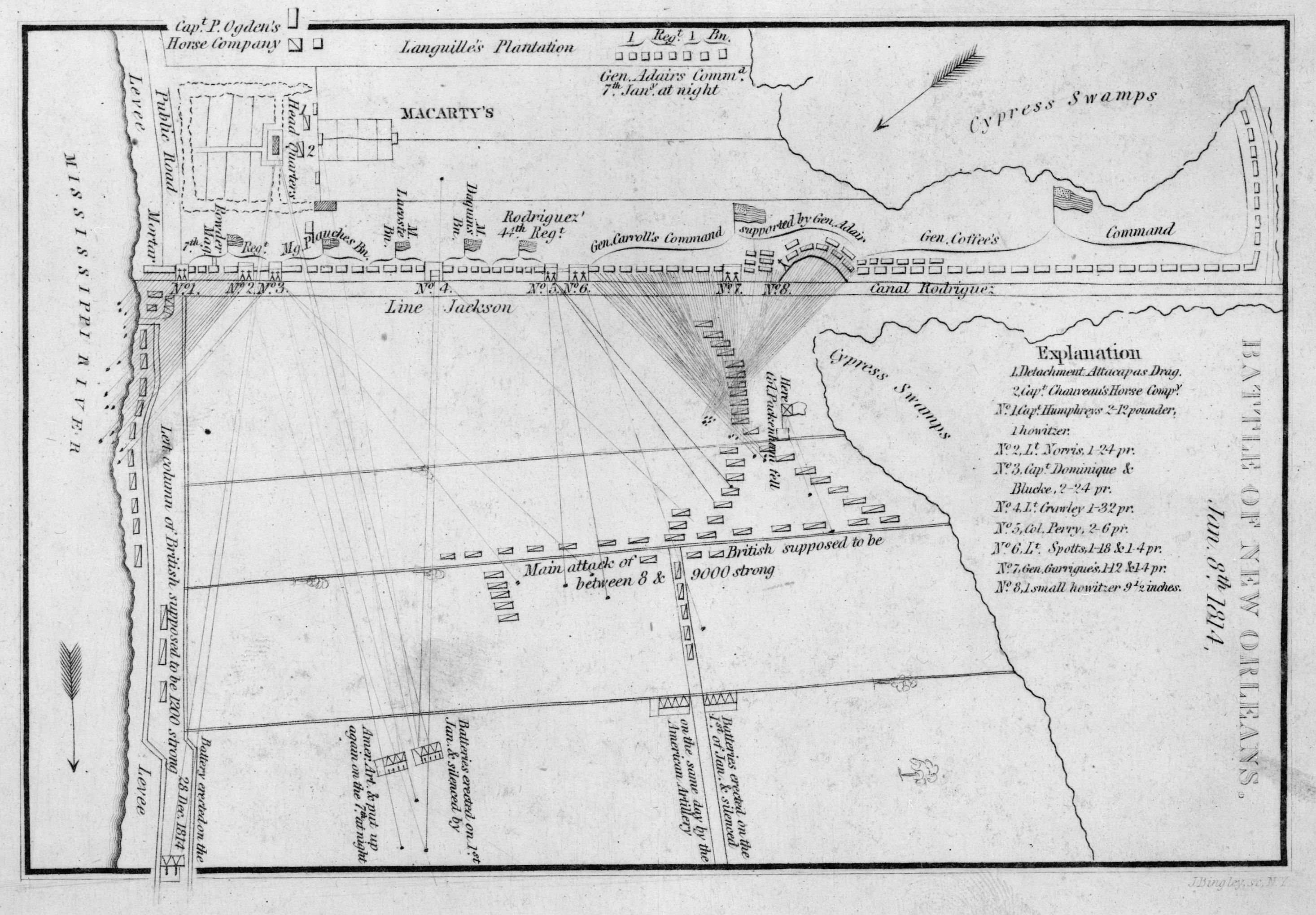 Tactical map depicting locations of units during the Battle of New Orleans.