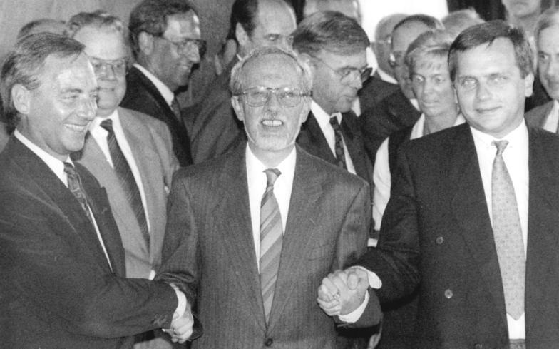 Bundesarchiv Bild 183-1990-0831-031, Berlin, Einigungsvertrag, Schäuble, Krause
