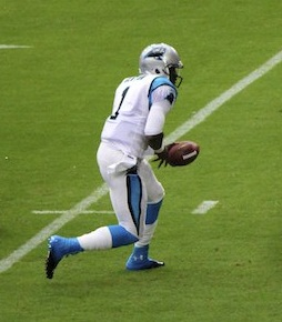 Cam Newton's first play (cropped)