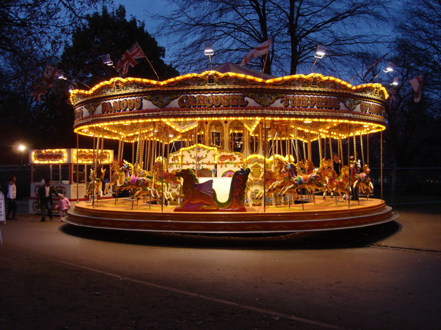 Circus Carousel Gold Birthday Cake