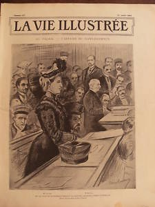 Front page of La Vie Illustrée on 25 July 1902. Mme Camille du Gast stands in court during the cases of character defamation by the barrister Maître Barboux, and the Prince of Sagan's assault on Barboux.