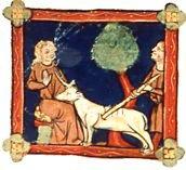 La Chasse à la licorne, miniature d'un manuscrit artésien du Bestiaire de Pierre de Beauvais, XIIIe siècle.