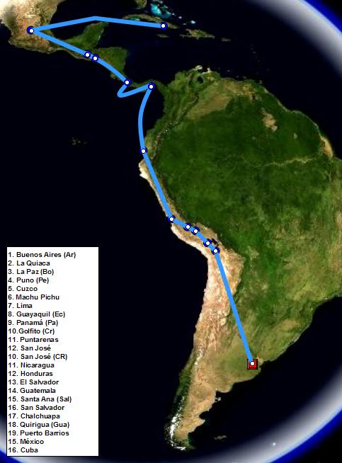 Itinerario del segundo viaje de Ernesto Guevara, 1953-1956.