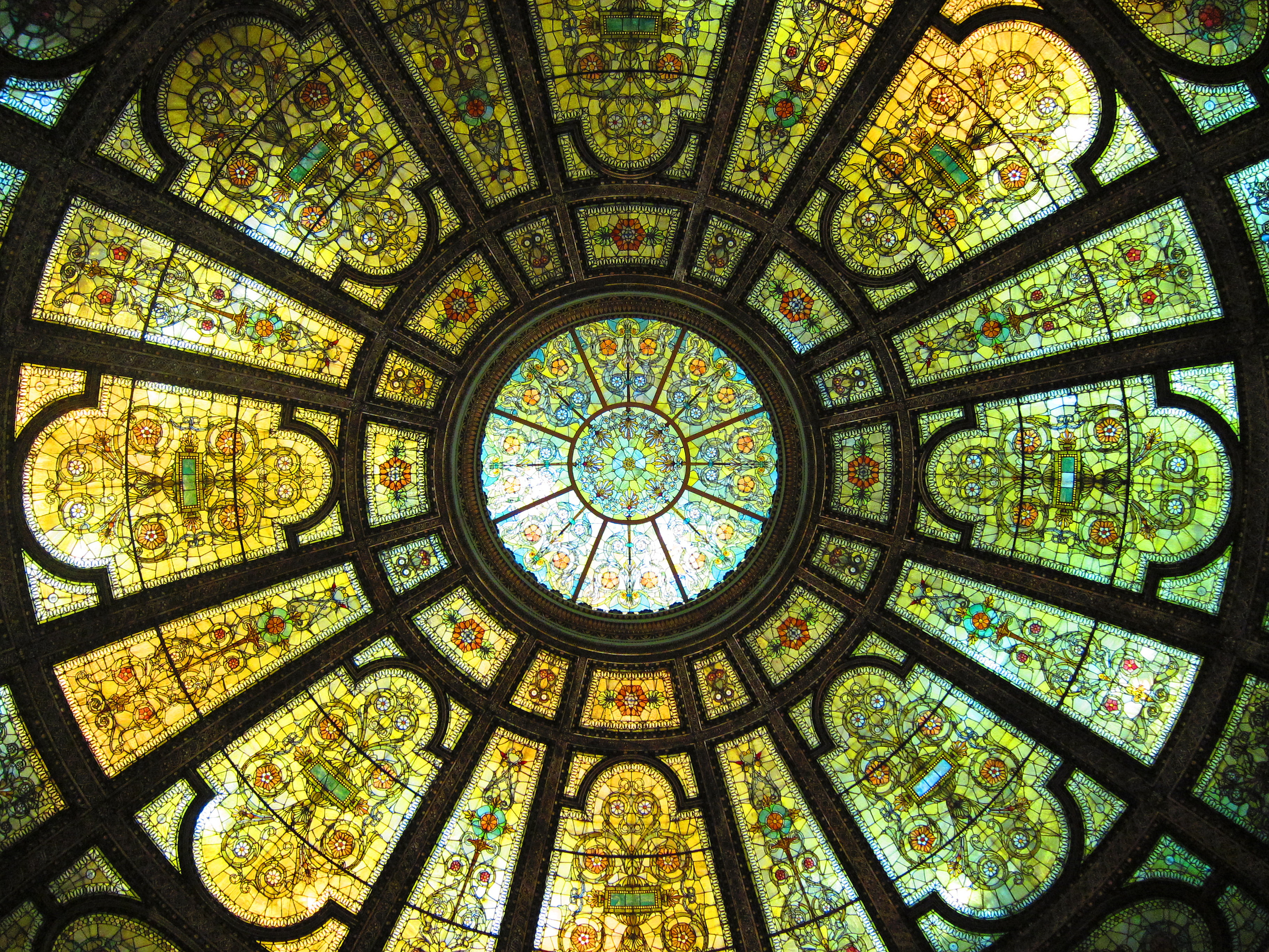 File Chicago Cultural Center Dome Stained Glass Window Jpg Wikimedia Commons
