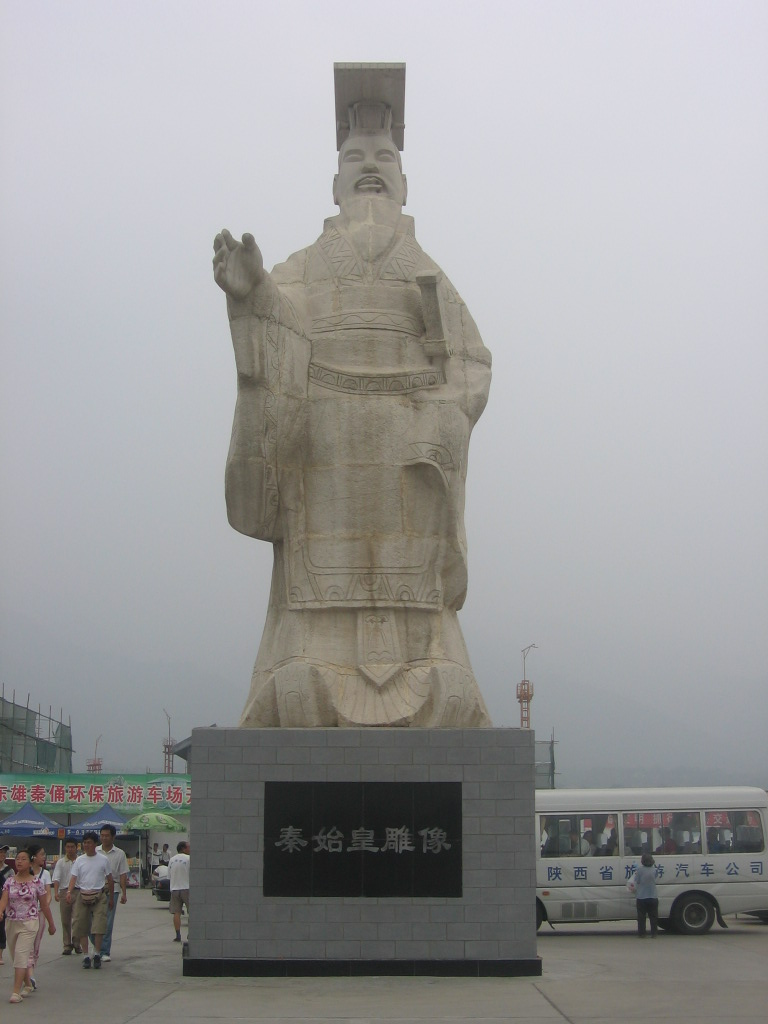 A modern statue of Qin Shi Huang, located near the site of the Terracotta Army