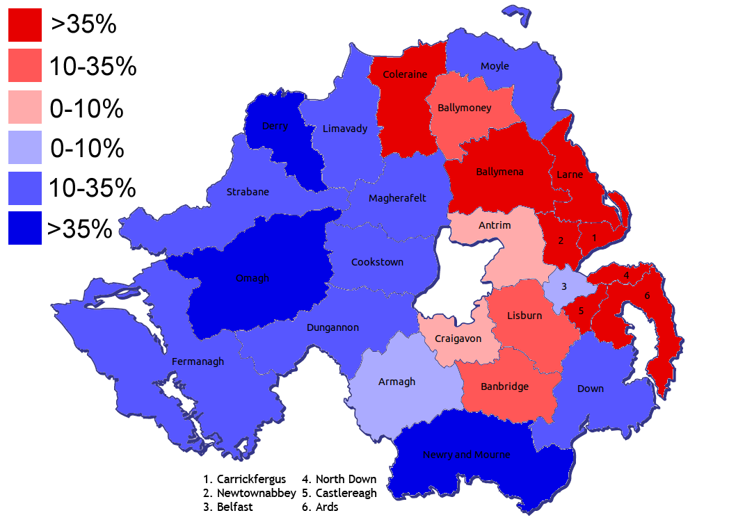 FileDistricts Of Northern Ireland By Predominant Religionpng - Religion map of world 2014