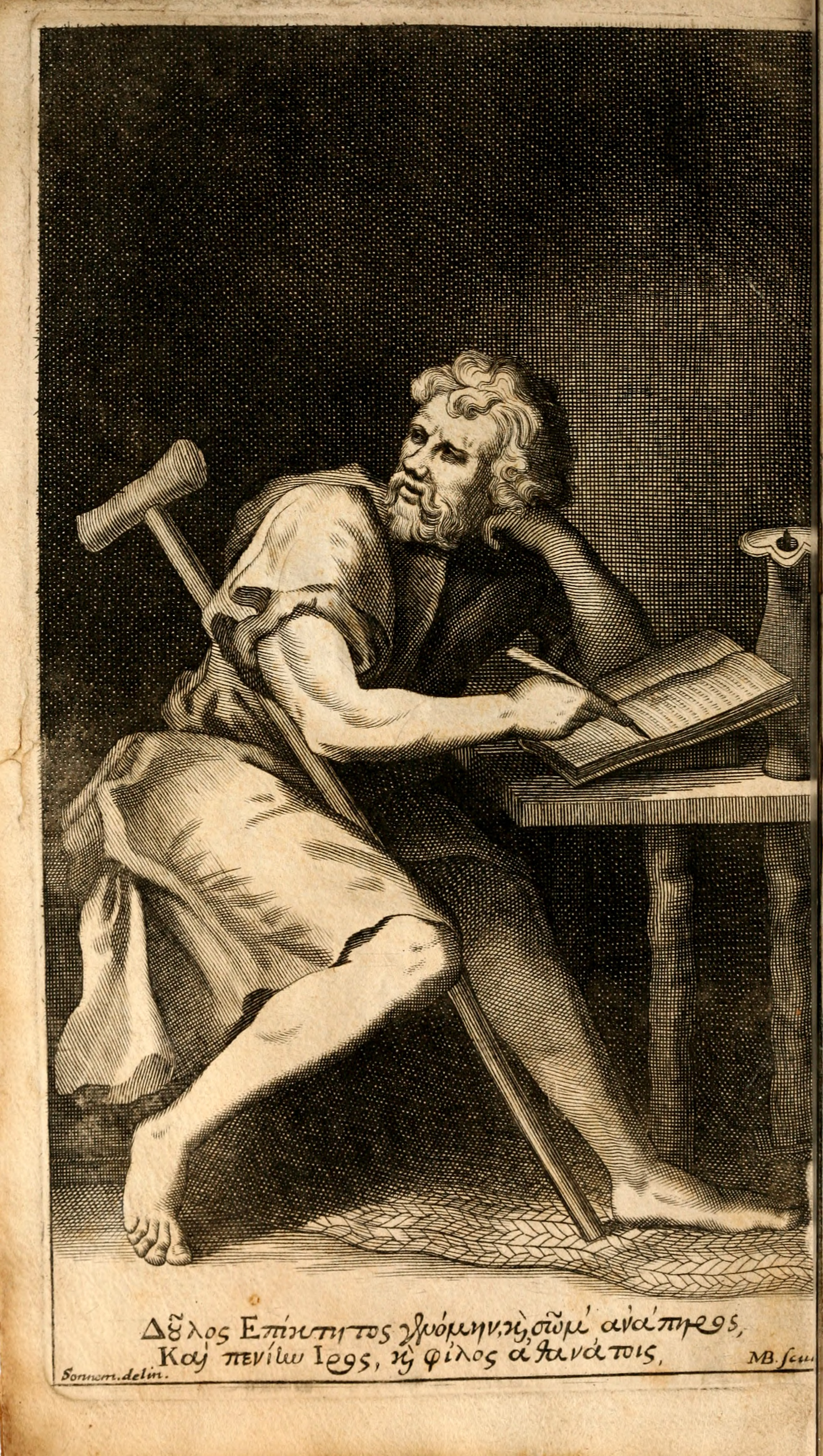Artistic impression of Epictetus, including his crutch