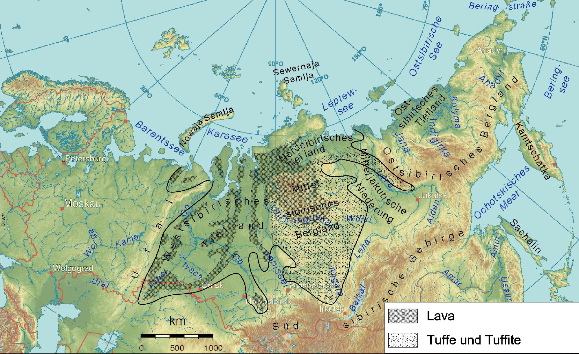 Extensión de las escaleras siberianas en un mapa actual.