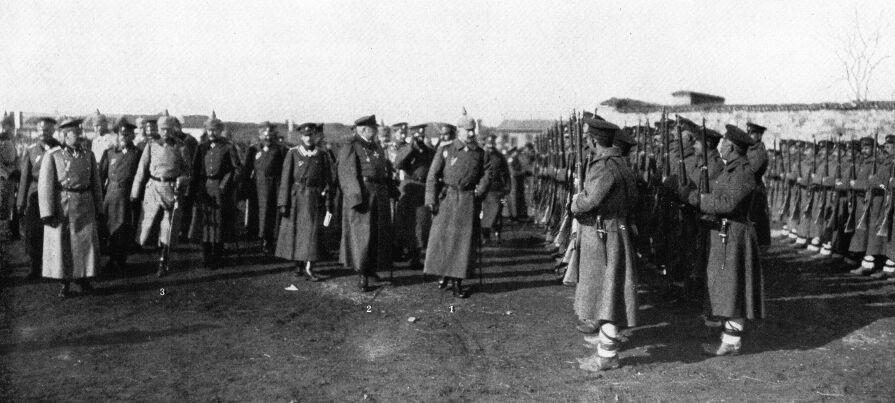 WilhelmII., FerdinandI. von Bulgarien und Generalfeldmarschall von Mackensen in Niš, Serbien (1915)