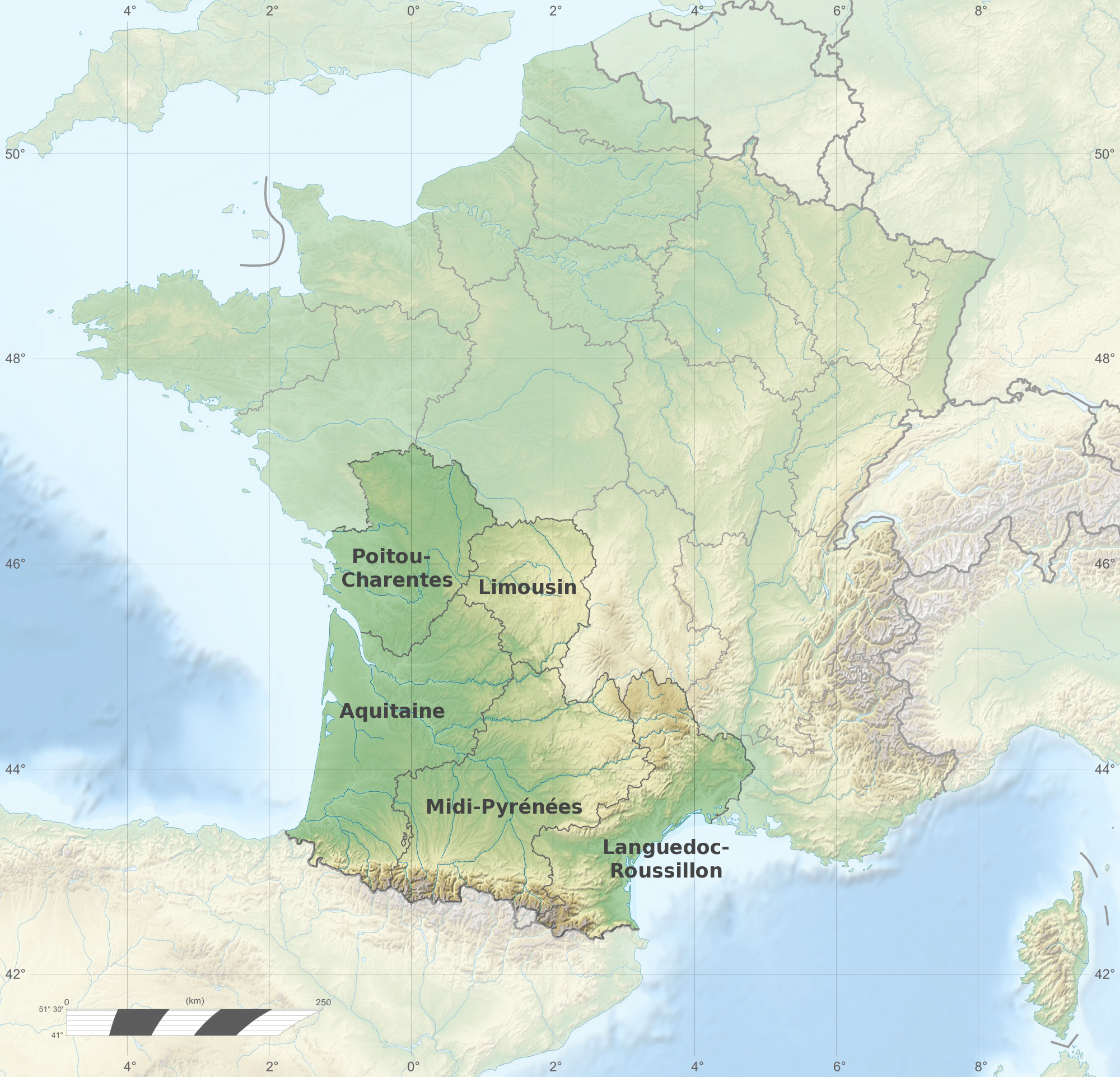 carte du sud ouest france File:France relief location map South West highlighted fr.png