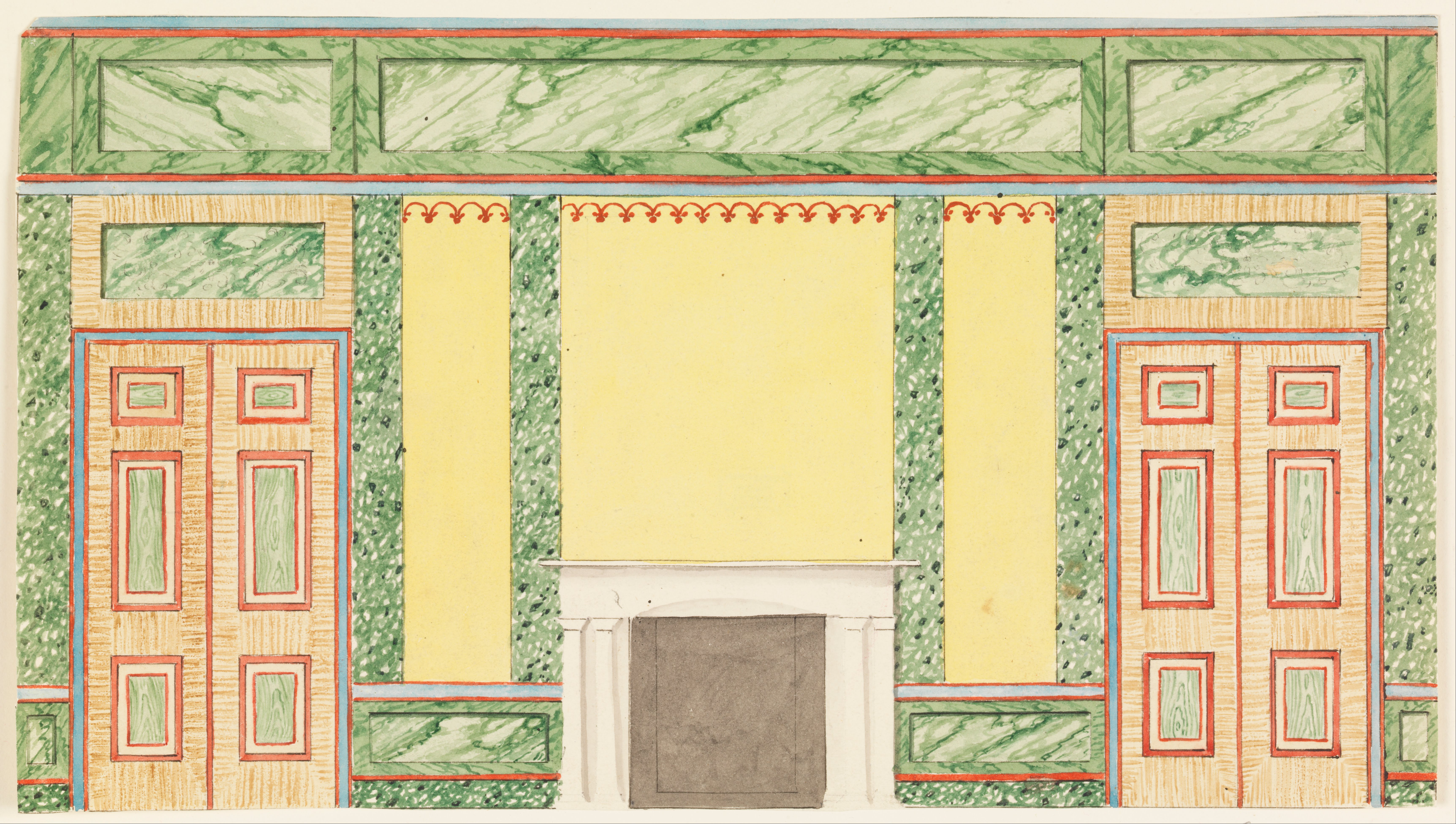 File:Frederick Crace - Wall Elevation with Fireplace and Two Doors ...