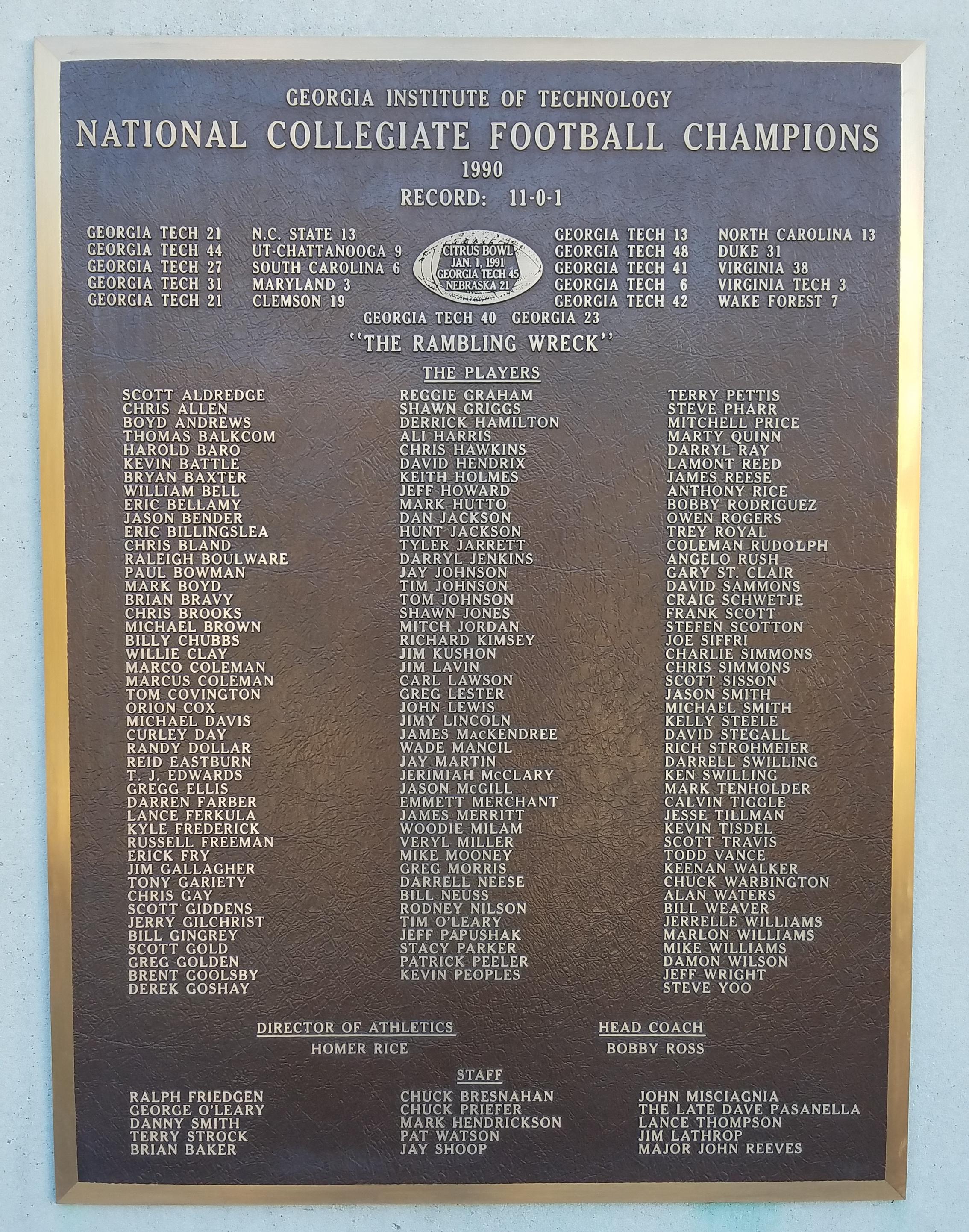 1990 Georgia Tech Yellow Jackets Football Team Wikiwand
