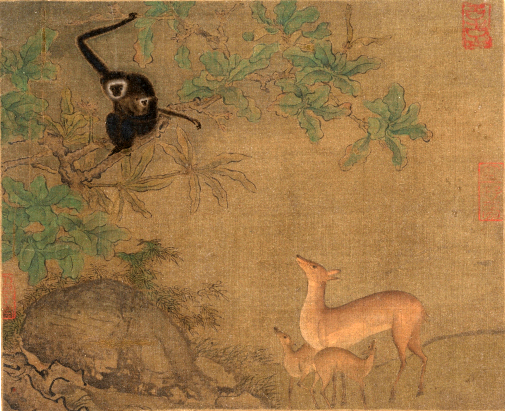 https://upload.wikimedia.org/wikipedia/commons/0/00/Gibbons_and_Deer.jpeg