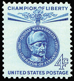 The US Mail postage stamp of Marshal C. G. E. Mannerheim from 1961