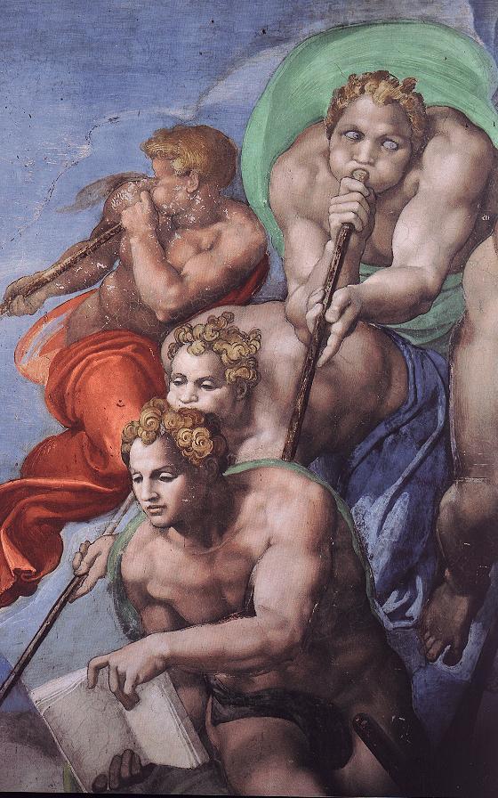 Aniołowie Apokalipsy, fragment fresku Sąd Ostateczny (Michał Anioł, PD)