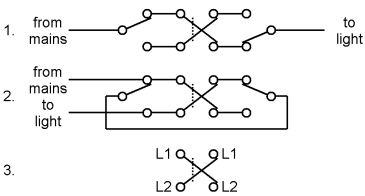 Three-way switching.1. First method2. Second method3. Labelling of switch terminals