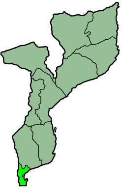 Map o Mozambique wi the province heichlichtit