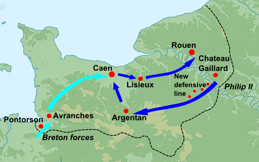 Phillip II's successful invasion of Normandy in 1204; blue arrows indicate the movement of Philip II's forces and light blue Philip's Breton allies