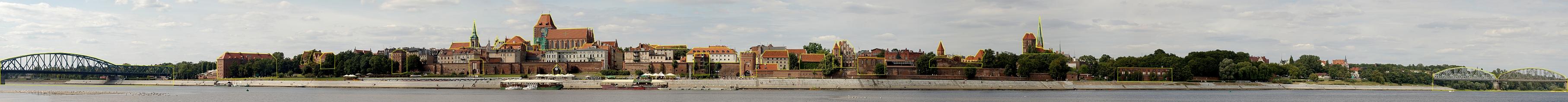 Panorama Torunia z konturami najwazniejszych zabytkow (Panorama of Torun).jpg