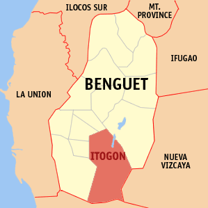 Map of Benguet showing the location of Itogon