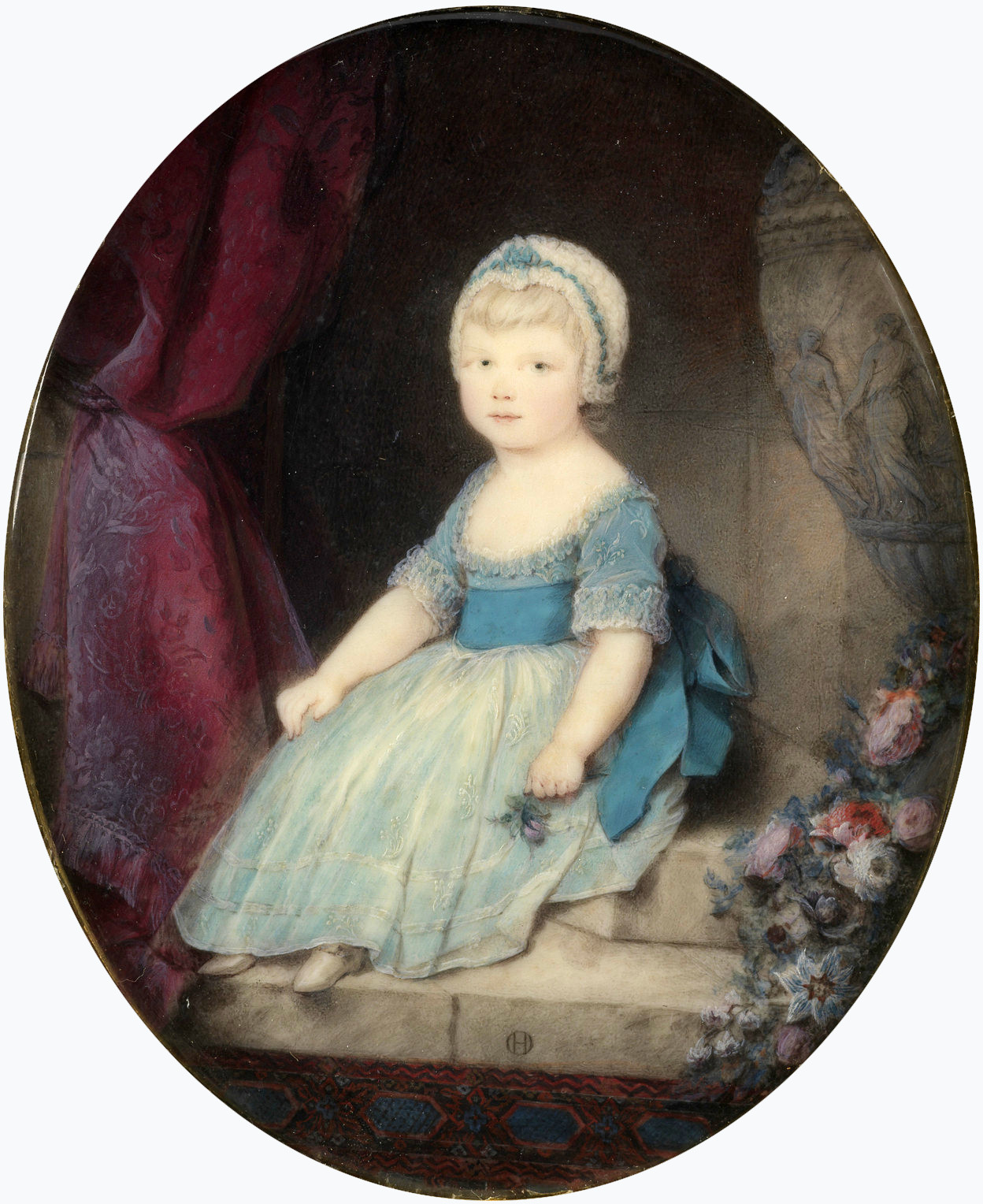 The Princess Royal in 1769. Miniature by Ozias Humphry, Windsor Castle Princess Charlotte in 1769.jpg