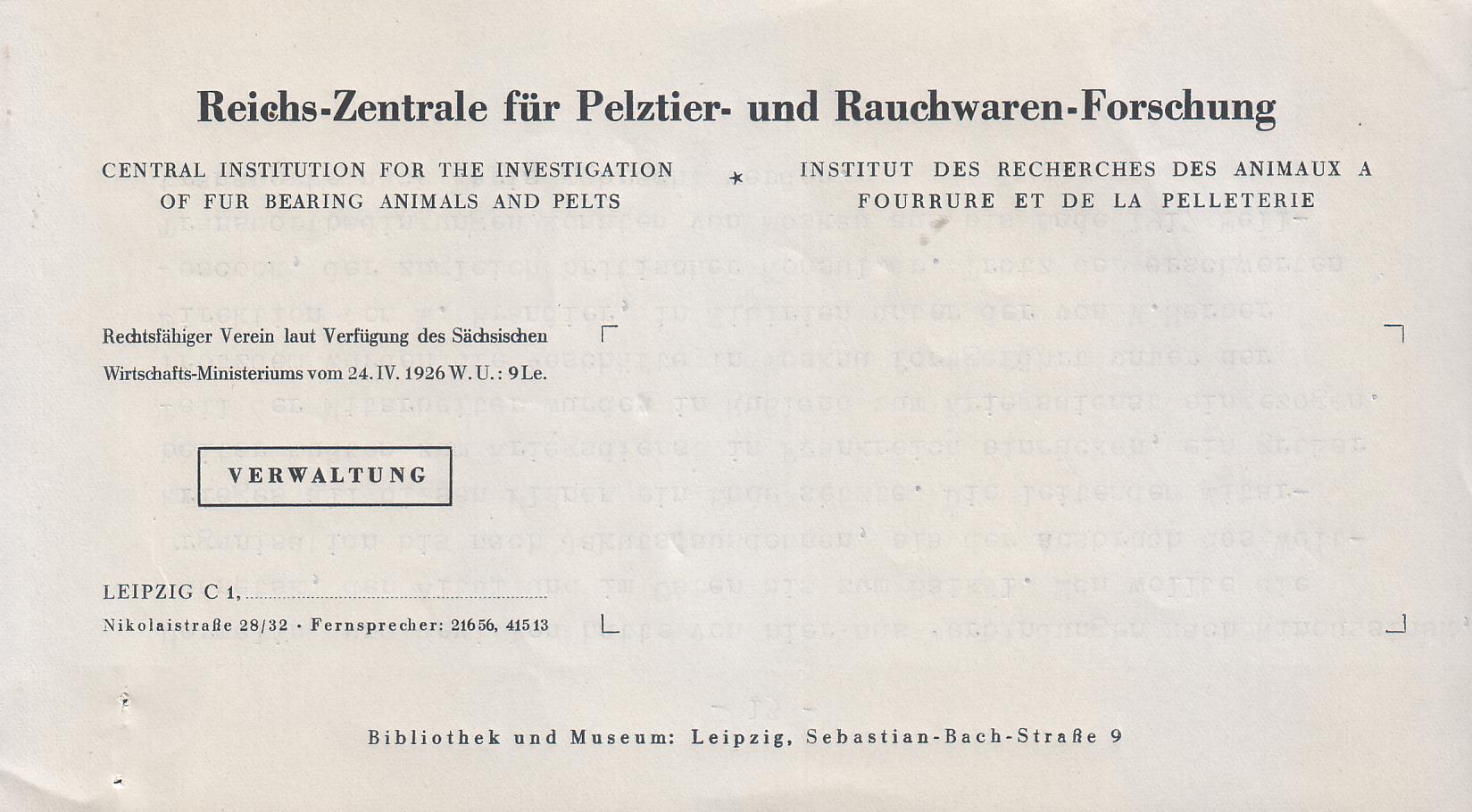 Filereichs Zentrale Für Pelztier Und Rauchwaren Forschung