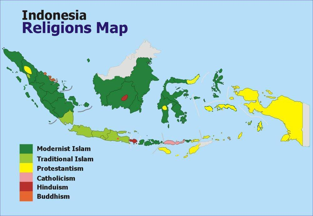 Map of Religion in Indonesia