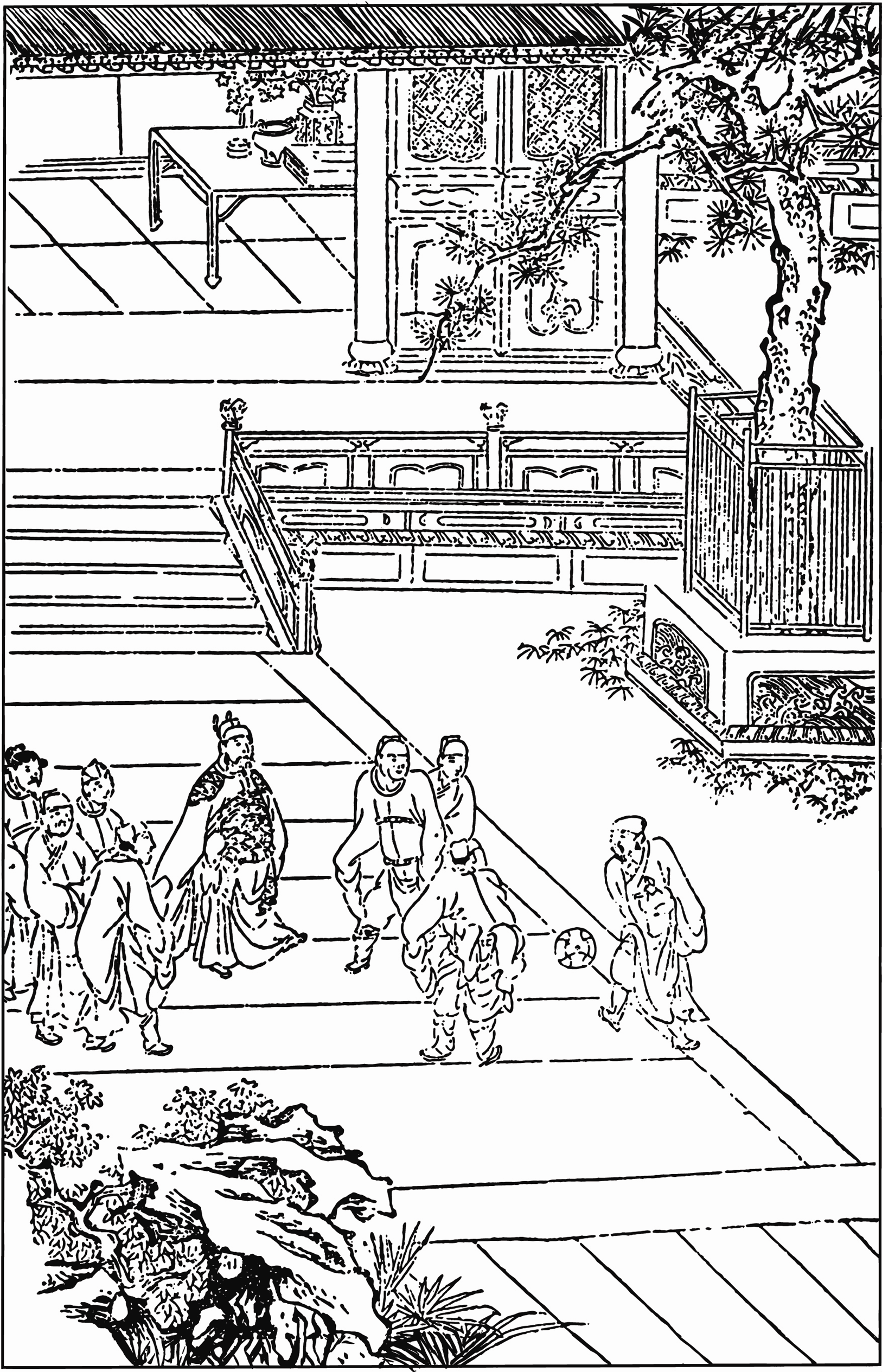 Illustration of a game of cuju from Water Margin, from a 15th century woodcut edition