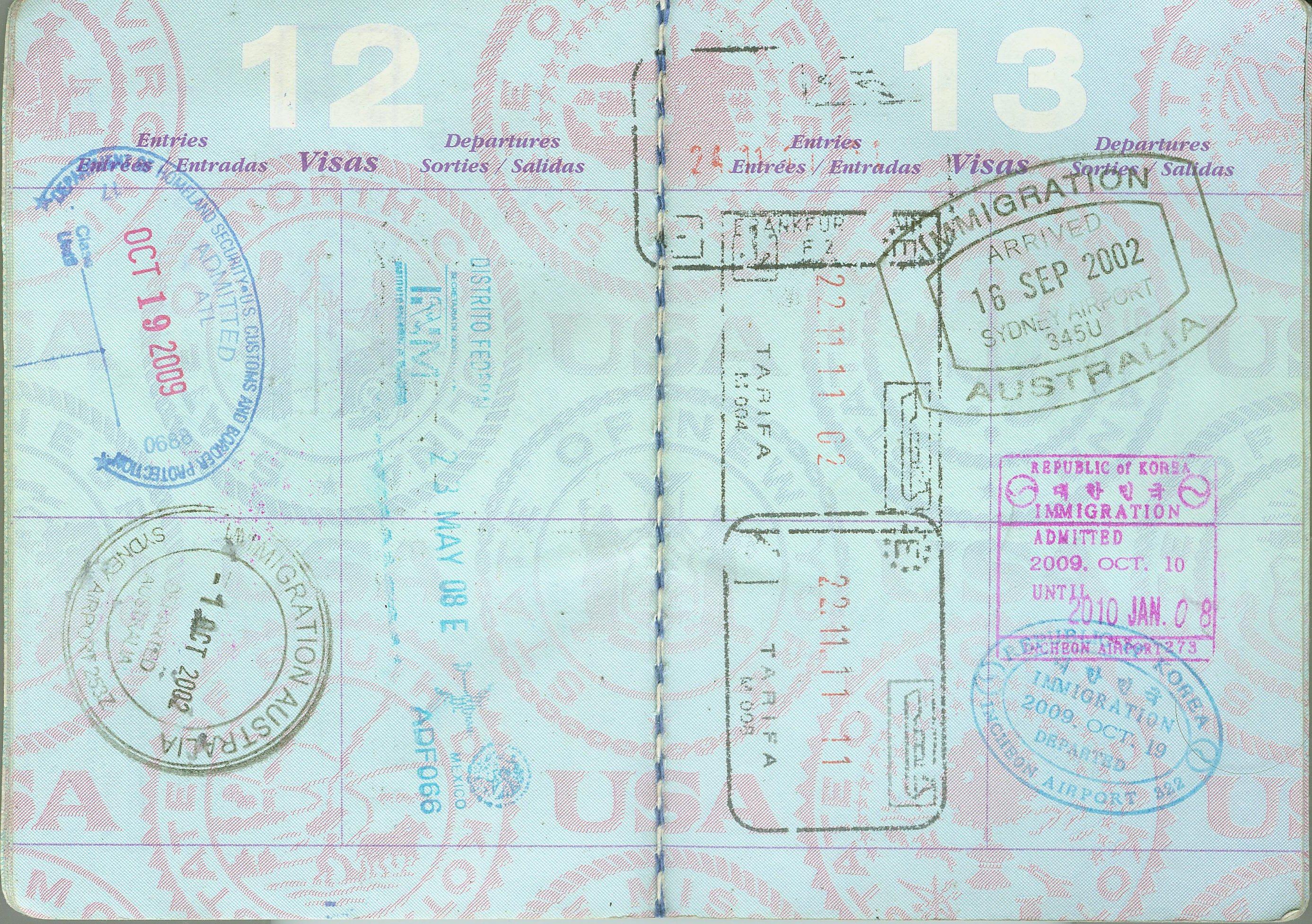 File:Spain Korea Australia Mexico US passport stamps.jpg ...