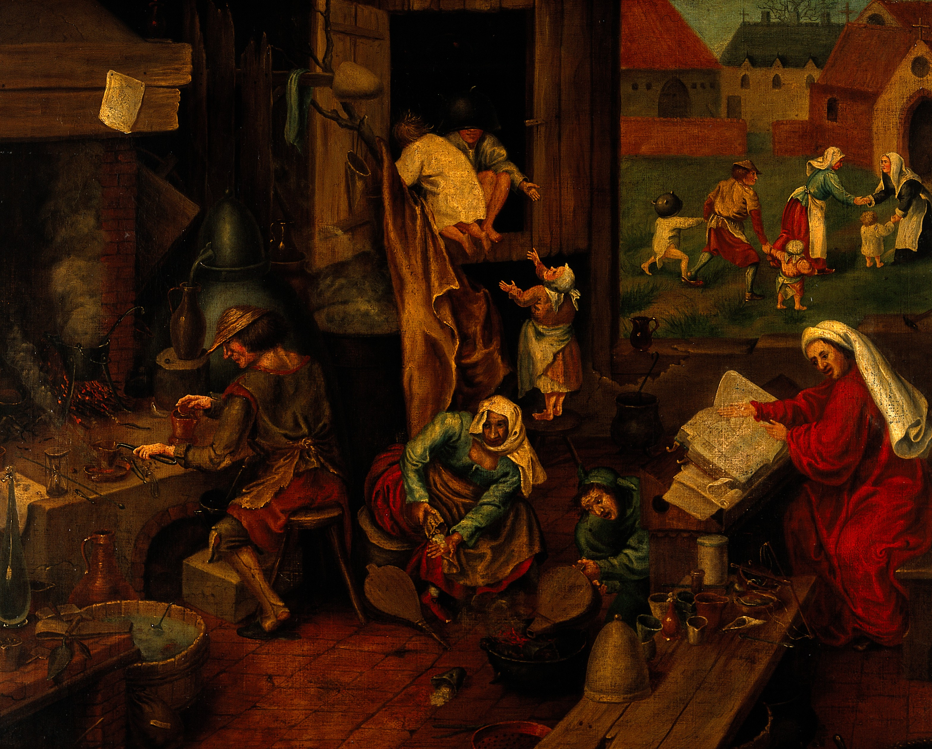 file the alchemist oil painting after pieter bruegel wellcome file the alchemist oil painting after pieter bruegel wellcome v0017671 jpg