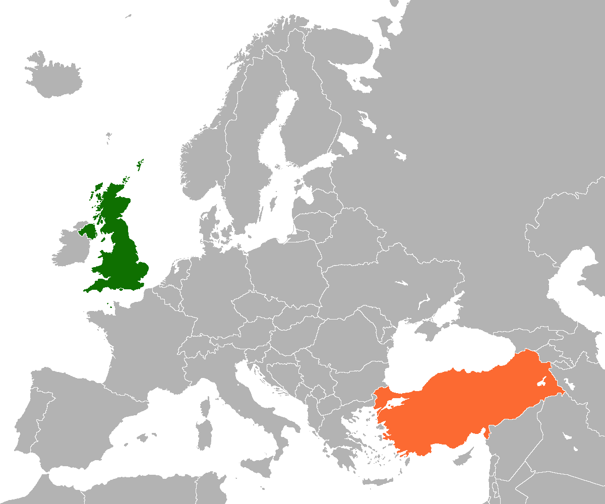 Map indicating locations of United Kingdom and Turkey