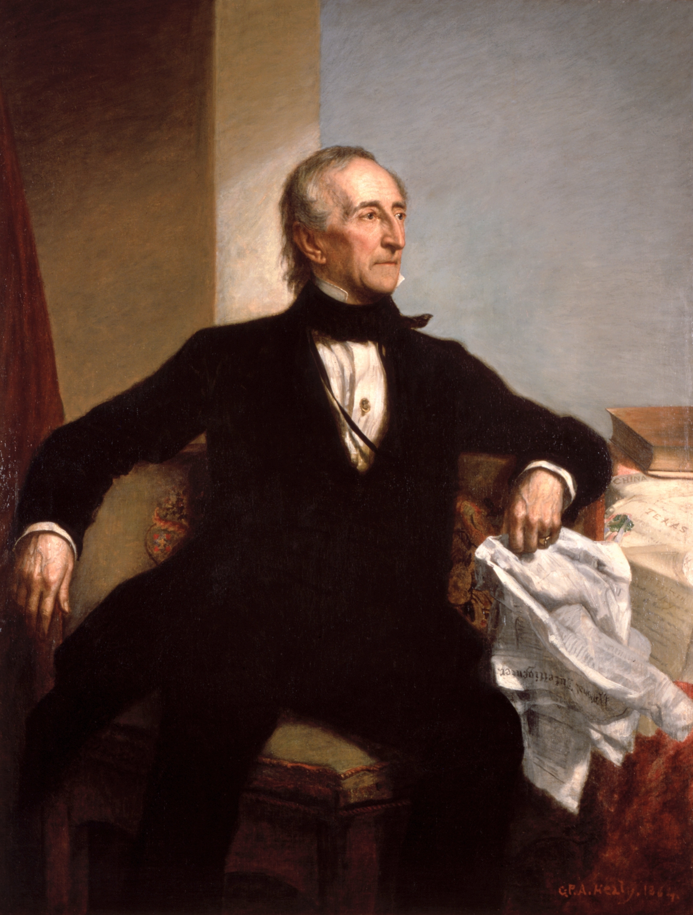 Official White House portrait of John Tyler, oil on canvas, 1859 by George P. A. Healy. Located in the Blue Room.