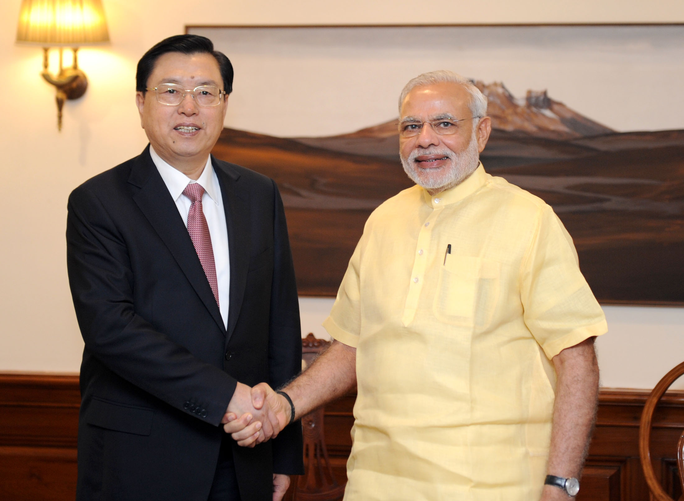 zhang dejiang, chairman of the standing committee of the national people's congress of china, calls on prime minister narendra modi.jpg