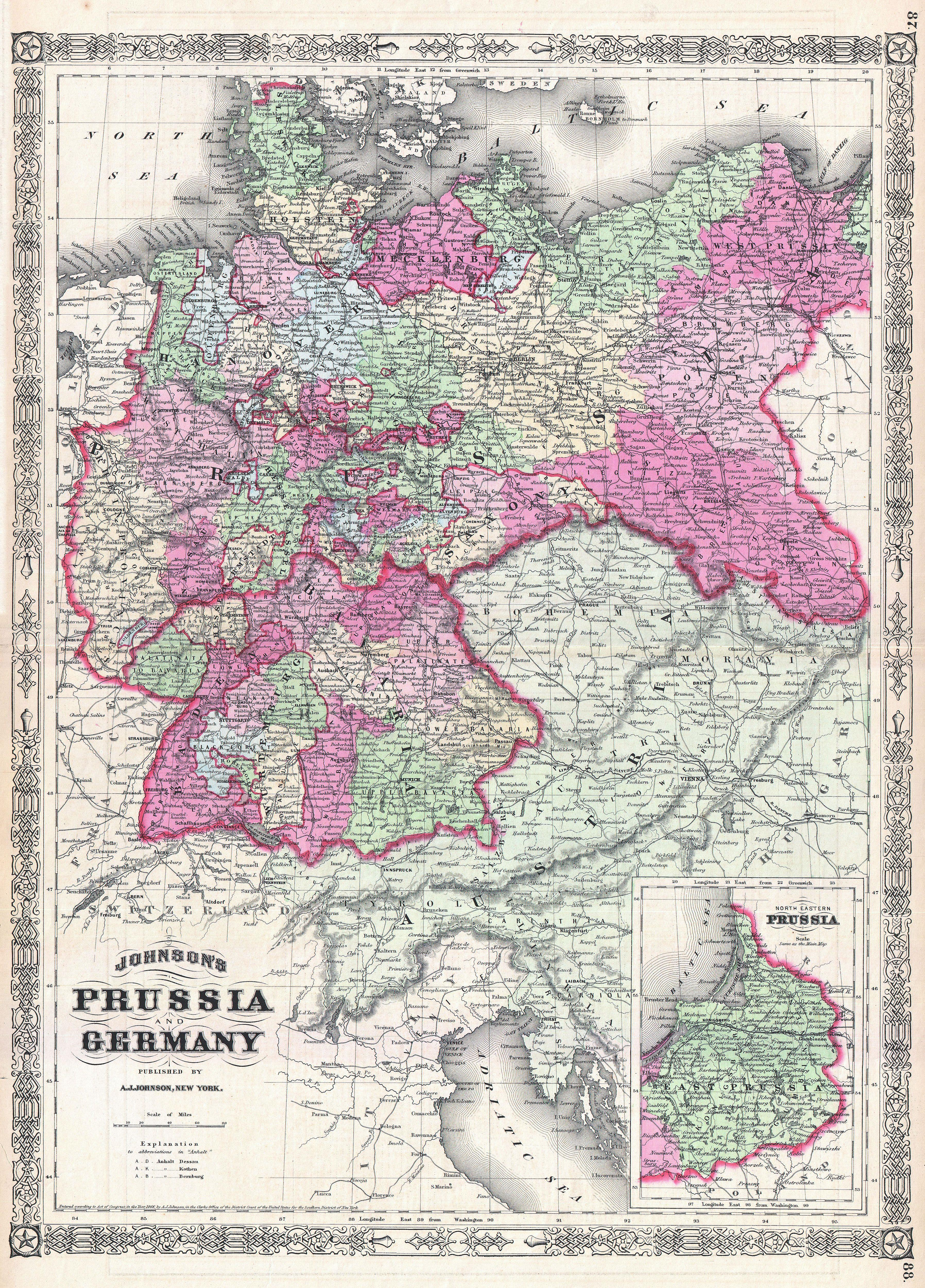 Map Of Germany Today.File 1866 Johnson Map Of Prussia And Germany Geographicus